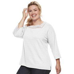 Plus Size Croft & Barrow® Crochet Top