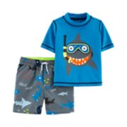 Toddler Boy Carter's Snorkeling Shark Rash Guard & Swim Shorts Set