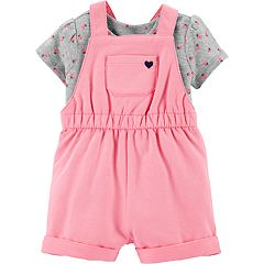 Baby Girl Carter's Strawberry Tee & French terry Shortalls Set