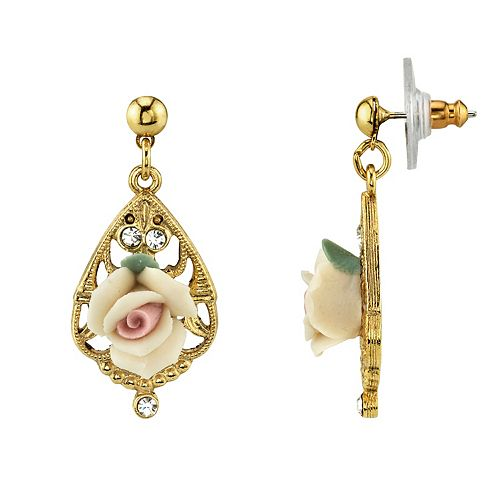 1928 Porcelain Rose & Simulated Crystal Drop Earrings