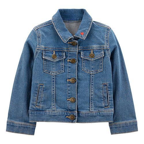Toddler Girl Carter's Embroidered Heart Denim Jacket