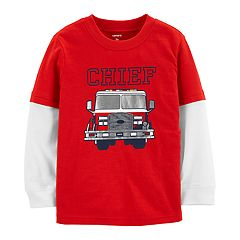 Baby Boy Carter's Fire Truck 'Chief'  Mock Layer Tee