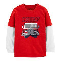Baby Boy Carter's Fire Truck 'Chief'  Mock Layer Tee
