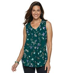 Women's Croft & Barrow® Print Pintuck Tank