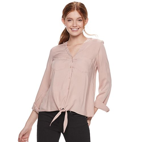 Juniors' SO® Knit to Woven Button Down Top