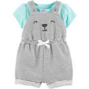 Baby Girl Carter's Tee & Bear Striped Shortalls Set
