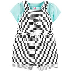 Baby Girl Carter's Tee & Bear Striped Shortalls Set
