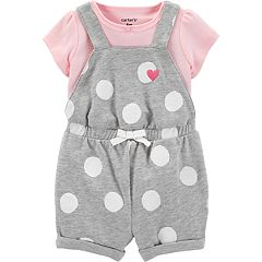 Baby Girl Carter's Tee & Polka-Dot Shortalls Set