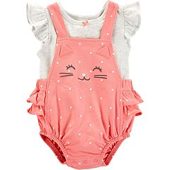 Baby Girl Carter's Tee & Polka-Dot Kitty Shortalls Set