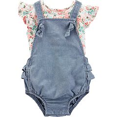 Baby Girl Carter's Floral Tee & Chambray Shortalls Set