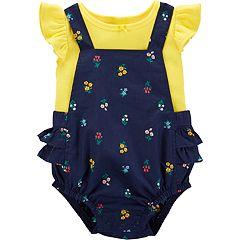 Baby Girl Carter's Tee & Floral Shortalls Set