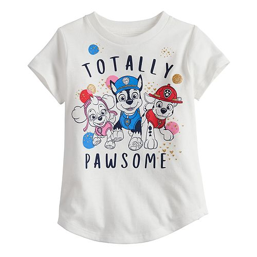 "Toddler Girl Jumping Beans® Paw Patrol Chase, Marshall & Skye ""Totally Pawsome"" Glitter Graphic Tee"