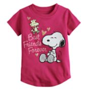"Toddler Girl Jumping Beans® Peanuts Snoopy & Woodstock ""Best Friends Forever"" Glitter Graphic Tee"