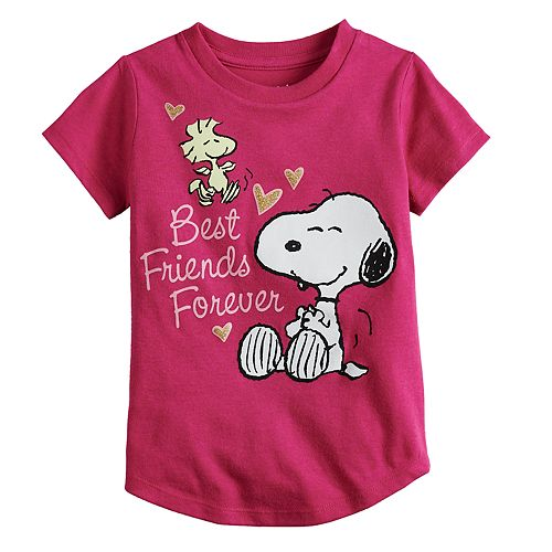 """Toddler Girl Jumping Beans® Peanuts Snoopy & Woodstock """"Best Friends Forever"""" Glitter Graphic Tee"""