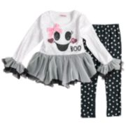 "Baby Girl Little Lass Velvet Tulle ""Boo"" Top & Foiled Ghost Leggings Set"
