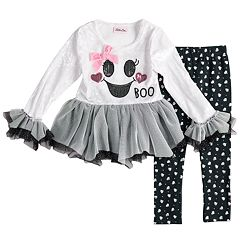 Baby Girl Little Lass Velvet Tulle 'Boo' Top & Foiled Ghost Leggings Set