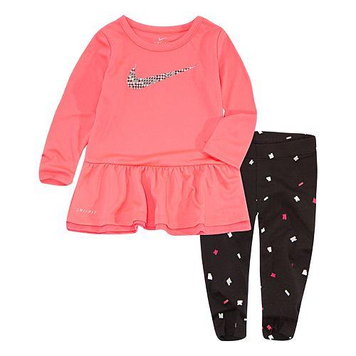 Baby Girl Nike Peplum-Hem Tunic & Confetti Leggings Set