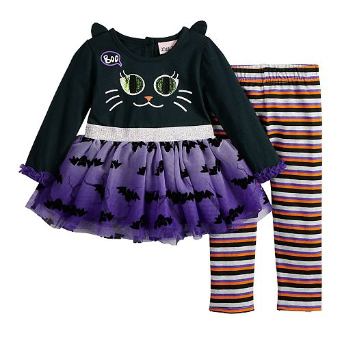 Baby Girl Little Lass Halloween Black Cat Dress & Leggings Set