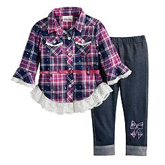 Baby Girl Little Lass Plaid Sequin Tunic & Jeggings Set