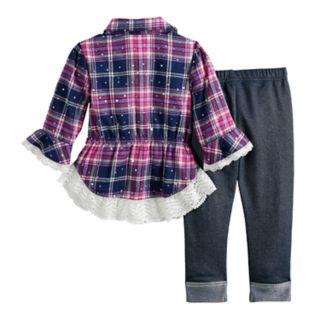 Baby Girl Little Lass Plaid Sequin Tunic & Jeggings Set