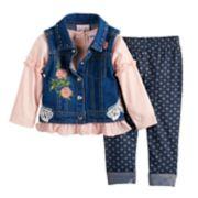 Baby Girl Little Lass Floral Denim Vest, Top & Leggings Set