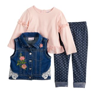 Baby Girl Little Lass Floral Denim Vest, Top & Leggings Set