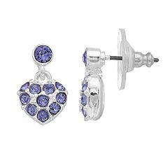 Dana Buchman Purple Crystal Heart Drop Earrings