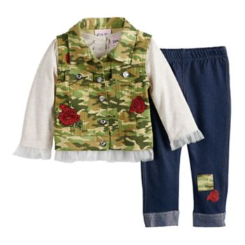 Baby Girl Little Lass Camouflage Vest, Tulle Top & Rose Jeggings Set