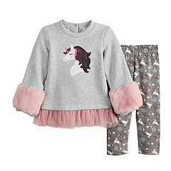 Baby Girl Little Lass Faux-Fur Fleece Tunic & Unicorn Leggings Set