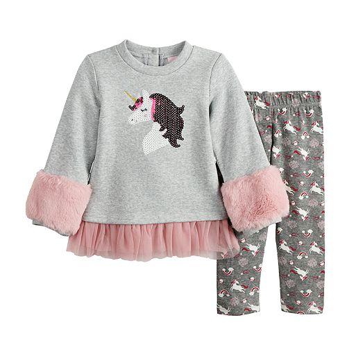 Baby Girl Little Lass Faux-Fur Fleece Tunic & Unicorn Leggings Set