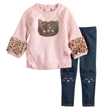 Baby Girl Little Lass Cat Sequin Glittery Sweatshirt & Embroidered Jeggings Set