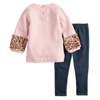 Baby Girl Little Lass Cat Sequin Glittery Sweatshirt & Embroidered Jeggings Set