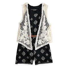 Girls 7-16 Beauteez Belted Romper & Crocheted Vest Set