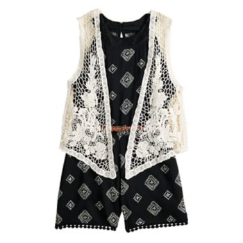 Girls 7-16 Beautees Belted Romper & Crocheted Vest Set
