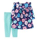Baby Girl Carter's Floral Dress & Polka-Dot Leggings Set