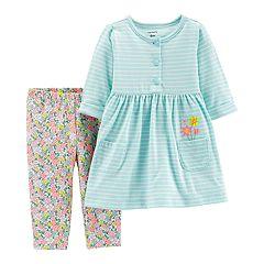 Baby Girl Carter's Striped Henley Dress & Floral Leggings Set