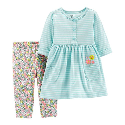 be62835ade6d Baby Girl Carter's Striped Henley Dress & Floral Leggings Set