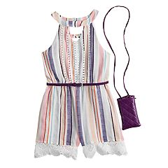 Girls 7-16 Beauteez Lace & Tassel Trim Belted Romper with Purse