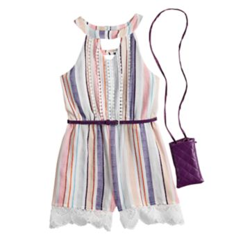 Girls 7-16 Beautees Lace & Tassel Trim Belted Romper with Purse