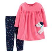 Baby Girl Carter's Dog Applique Dress & Polka-Dot Leggings Set