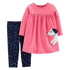 Baby Girl Carter's Dog Applique Dress & Polka-Dot Leggings Set