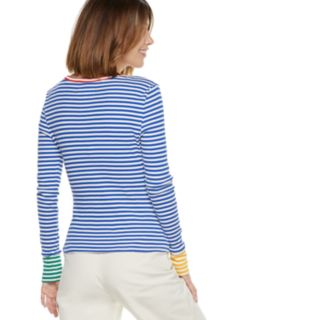 Women's POPSUGAR Contrast-Stripe Crewneck Top