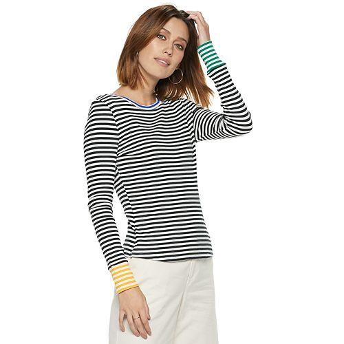 Women's POPSUGAR Contrast-Stripe Crewneck Top