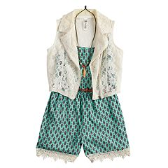 Girls 7-16 Beautees Lace Trim Belted Romper & Vest Set with Necklace