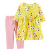 Baby Girl Carter's Floral Henley Dress & Striped Leggings Set