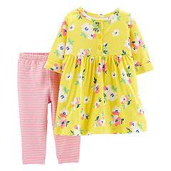 Baby Girl Carter's Floral Henley Dress & Striped Leggings Set