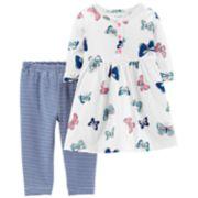 Baby Girl Carter's Butterfly Henley Dress & Striped Leggings Set