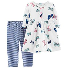 Baby Girl Carter's Butterfly Henley Dress & Striped Leggings Set