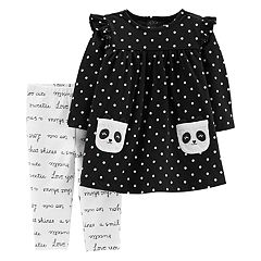 Baby Girl Carter's Polka-Dot Panda Dress & Script Leggings Set