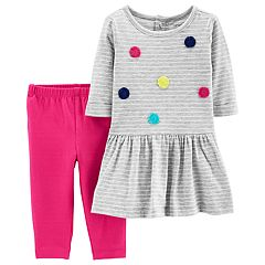 Baby Girl Carter's Striped Drop-Waist Dress & Leggings Set